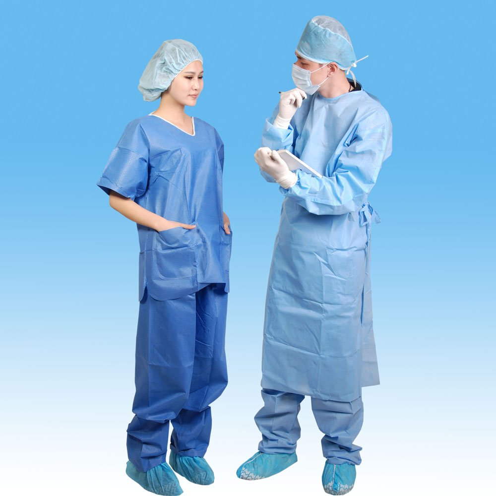 Hospital Use Disposable SMS Scrub Suit with Round Collar