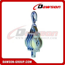 DS-B012 Malleable Iron Shell Block For Manila Rope Triple Sheave With Loose Hook