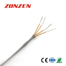 KAPTON insulated thermocouple extension wire with stainless steel overbraid--Double pair, twisted