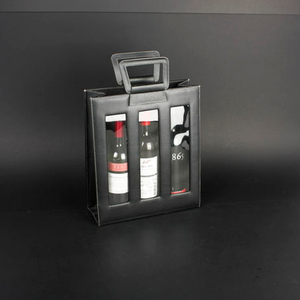Wine Box Manufacturer Brown PU leather wine bags 6 bottle
