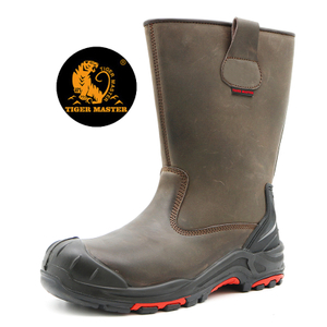 Oil Acid Resistant Anti Puncture Leather High Rigger Boots Composite ToeCap