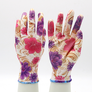 Anti Slip Waterproof Women Fashionable Floral Nitrile Garden Gloves