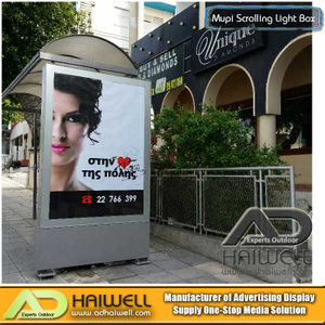 Außenwerbung Aluminium Bus Shelter mit Mupi Static LED Light Box