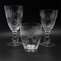 wholesale clear drinking glass tumbler set of 3 with sandblasted craft
