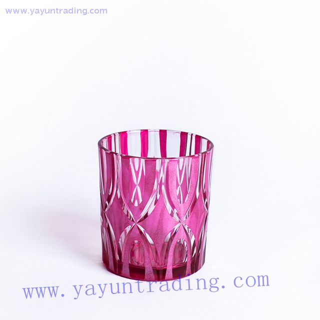 home decoration unique pink colored glass candle vessel
