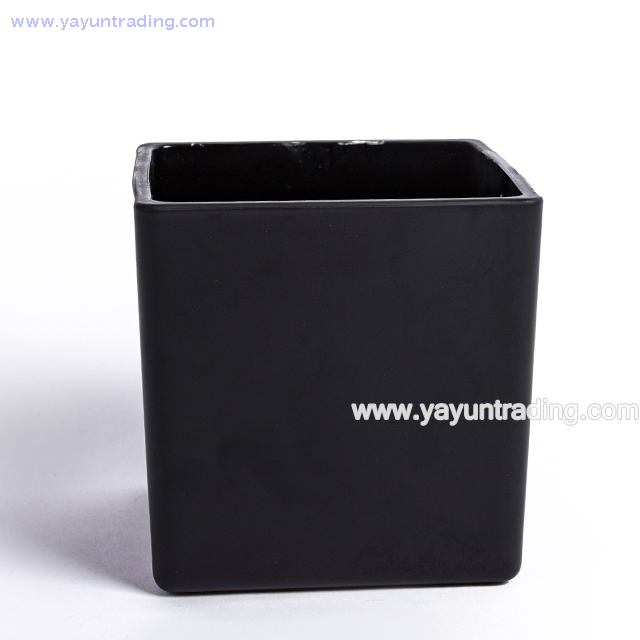 High Quality Square Shape Thick Matte Black Glass Candle Holder