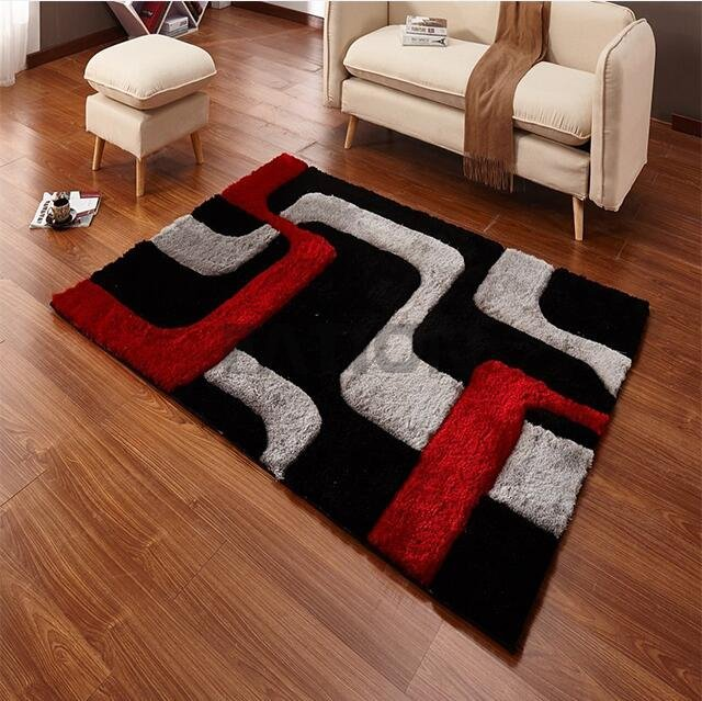 5'×8' Anti-skid Black Multi Shag Rugs with 3D Effect