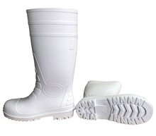 Food industry white steel toe pvc rain boots
