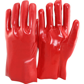 Red pvc gloves