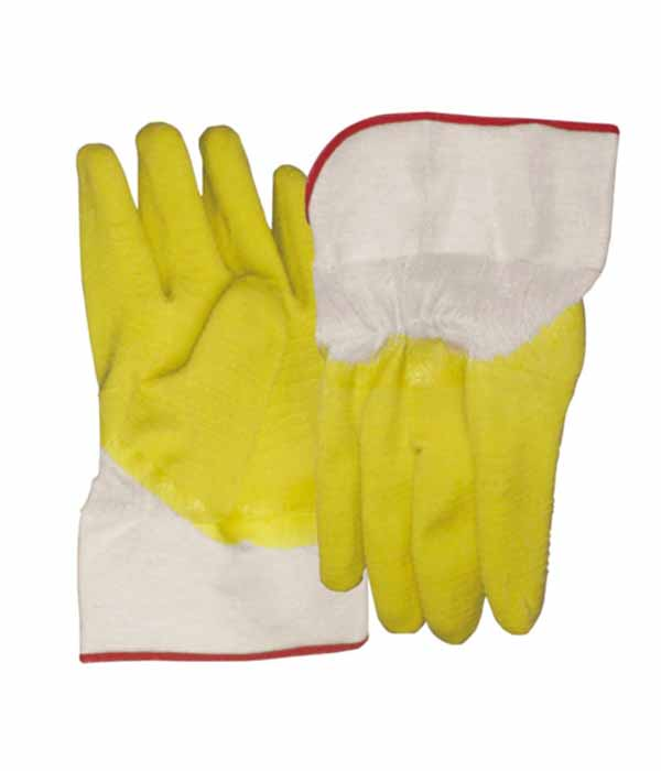 3211 anti slip yellow latex gloves with canvas cuff