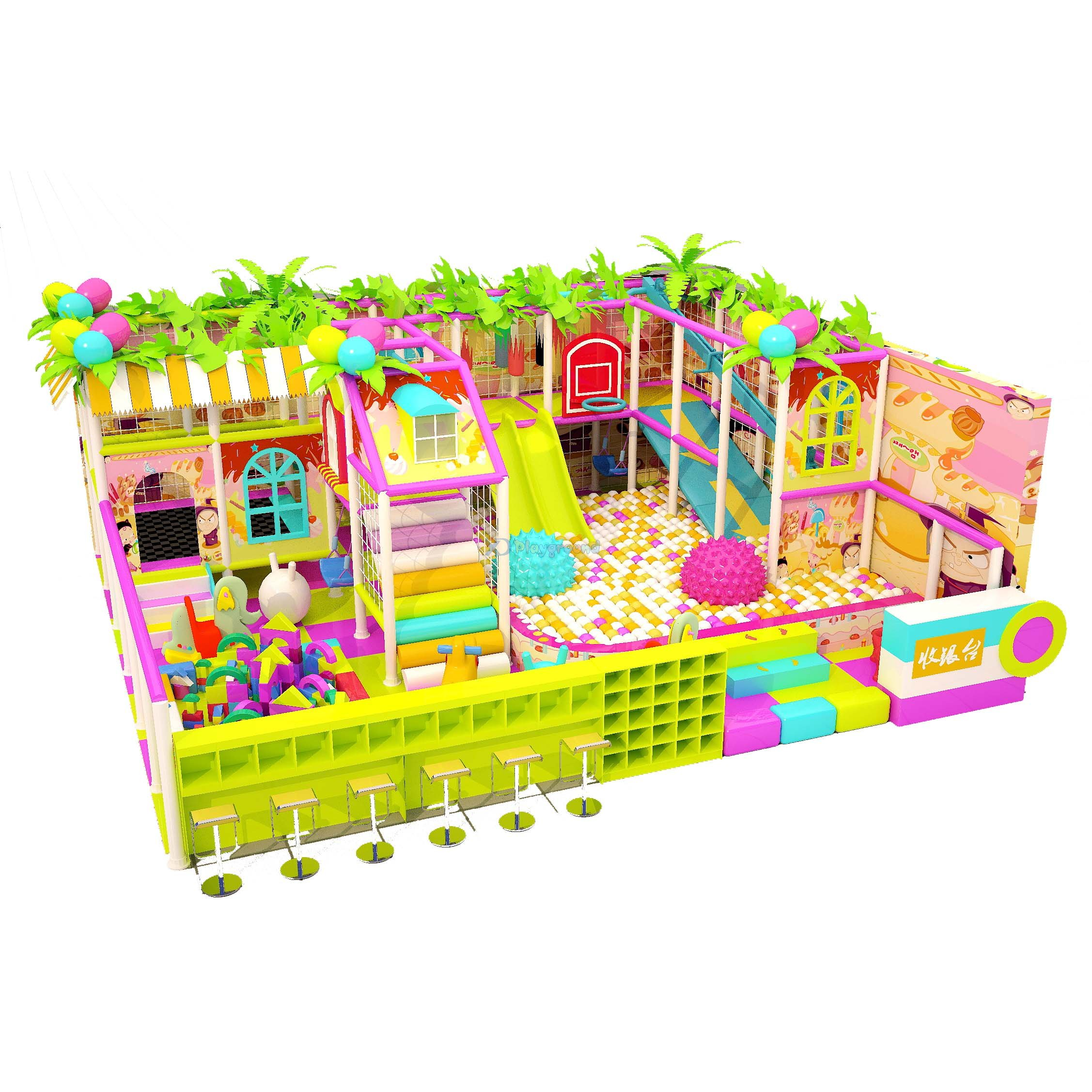 Candy Theme Soft Small Indoor Play Structures with Zip Slide