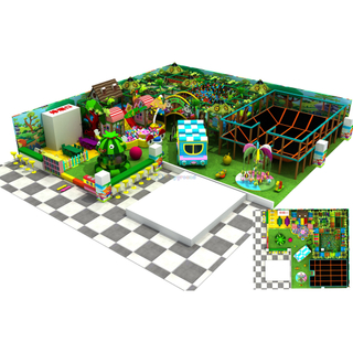 Jungle Theme Adventure Kids Soft Indoor Play Center with Trampoline Park