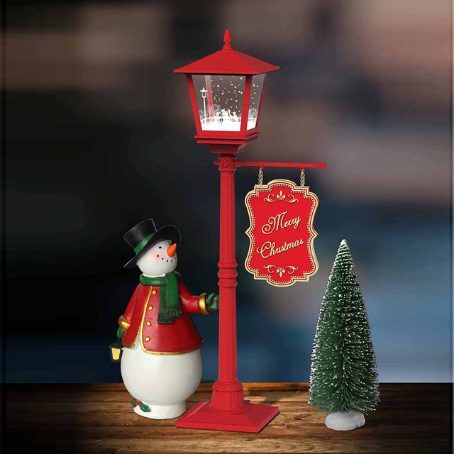 Lovely Snowing Led Lights with Snowman And Merry Christmas Brand for Home Ornament
