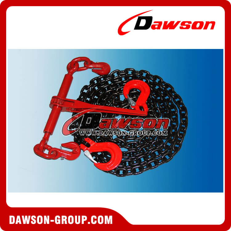 EN12195-3 G80 GRADE 80 RATCHET LOAD BINDER LASHING CHAIN WITH CLEVIS SLING HOOK WITH SAFETY LATCH