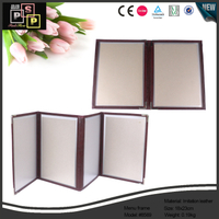 Black pu leather hand made luxury PE window menu frame