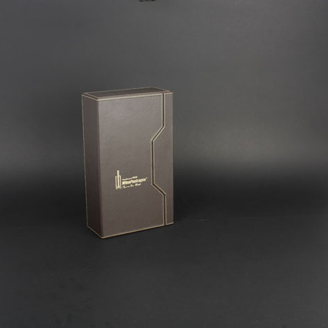 Wine Box Manufacturer Black PU leather wooden box for wine