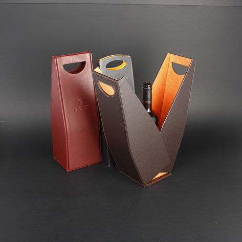 Wine Box Manufacturer Brown PU leather sexy wine bottle holder