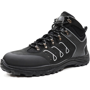 Black Genuine Leather Anti Static Composite Toe Safety Boots for Men