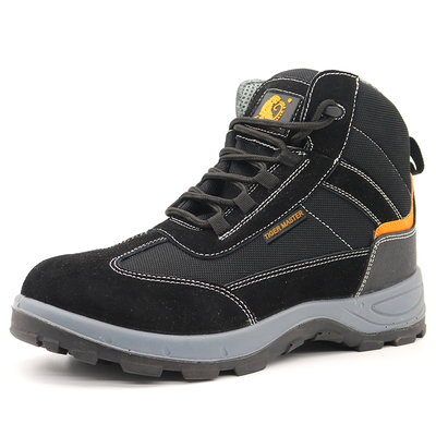 Black Suede Leather Steel Toe Puncture Proof Sport Safety Boots