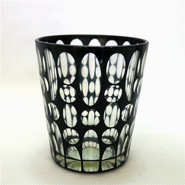 hand cut oval dot colorful glass candle jar