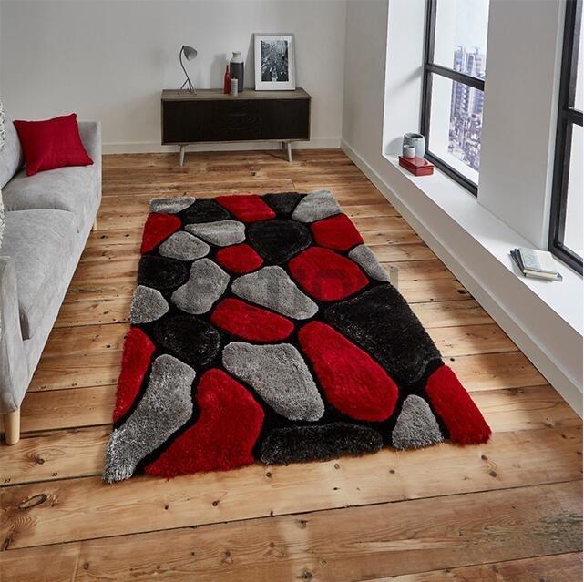 160×230 cm Red Grey 3D Shag Rugs Bedroom Carpet - Buy ...