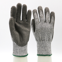 Grey Nylon Liner PU Coated Palm Safety Work Gloves Customized Logo Cut Resistant Gloves