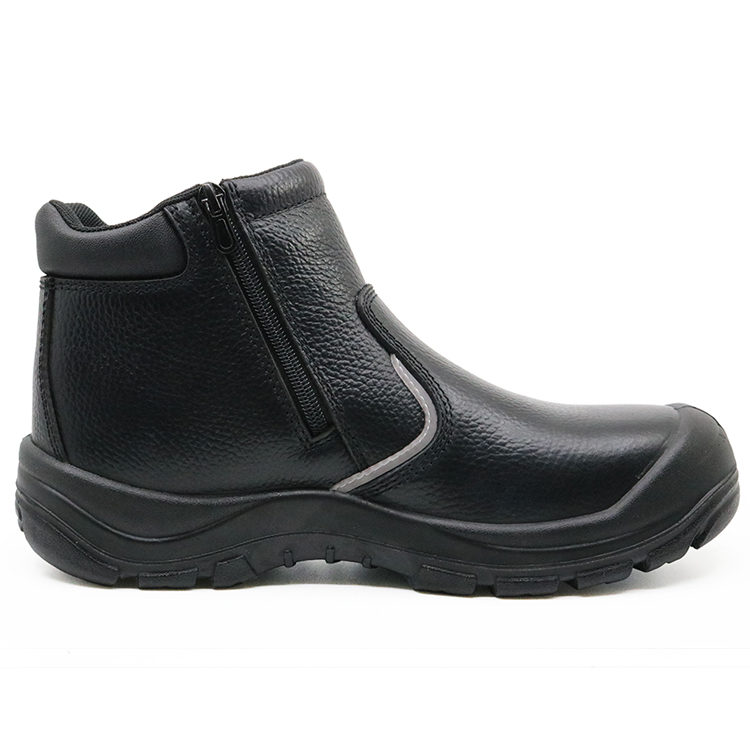 ENS026 black buffalo leather no lace fashion safety shoes with zipper