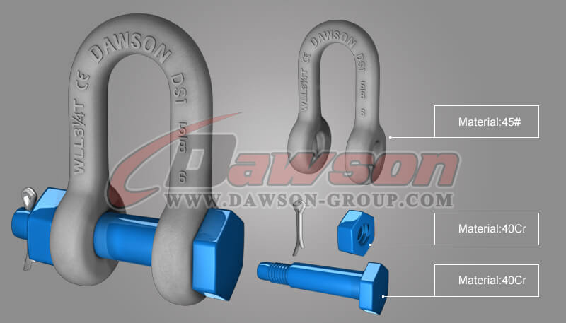 Dawson Brand Hot Dip Galvanized US Type Bow Shackle with Safety Pin