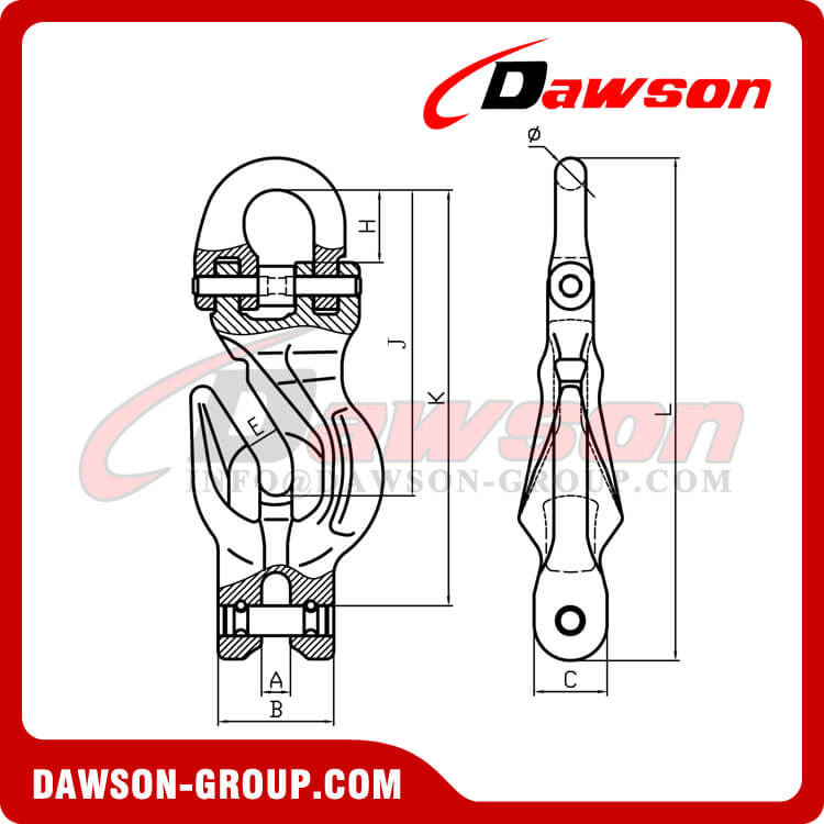 DS1080 G100 Connecting Link with Clevis Shortening Grab Hook Attachment for Chain Slings
