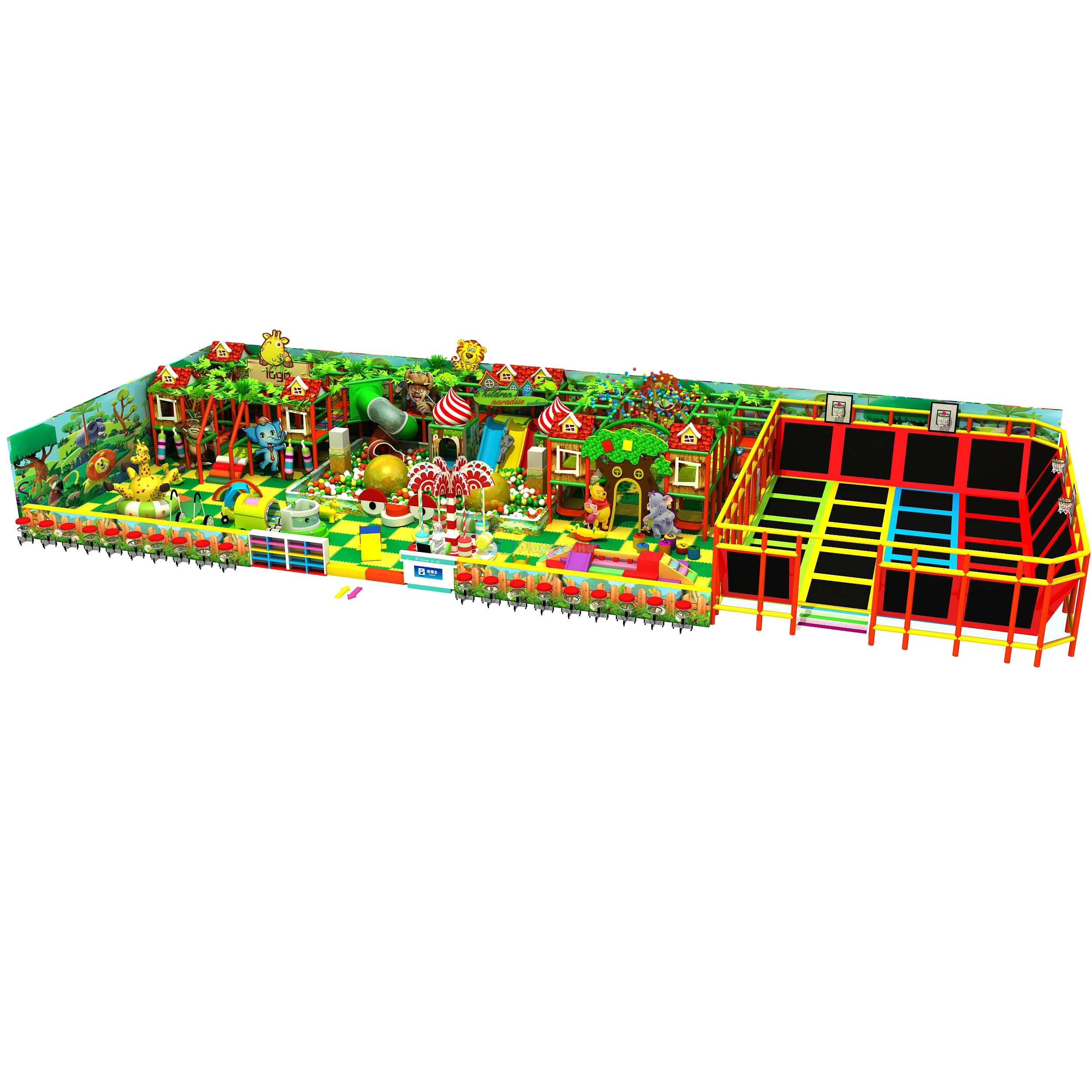 Jungle Themed Amusement Park Kids Adventure Indoor Playground with Trampoline