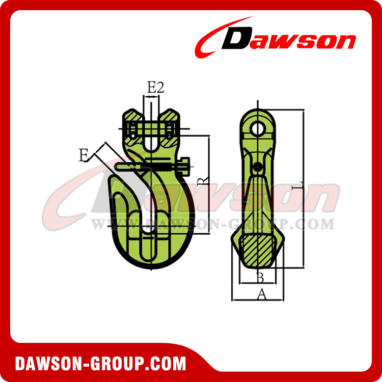 DS1024 G100 Special Clevis Grab Hook With Safety Pin - Dawson Group