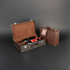 Wine Box Manufacturer Brown PU leather antique wine cabinet