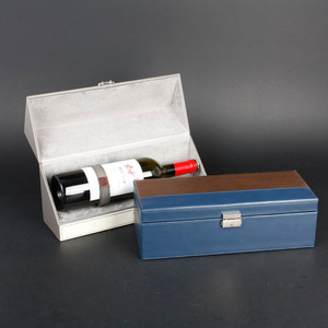 Wine Box Manufacturer Brown PU leather clear wine glass packing box