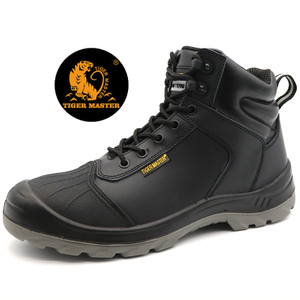 Anti Slip Black Leather Safety Working Boots Steel Toe Cap