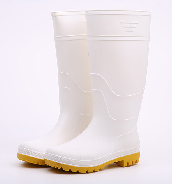 White color food industry pvc rain boots