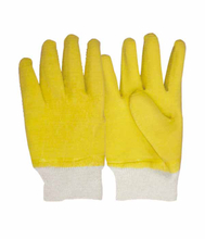 3202 yellow latex fully dipped industry safety gloves