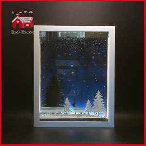 LED Glass Decoration Rectangle Glass Frame Wholesale LED Decoration Christmas Tree and Deer Scene