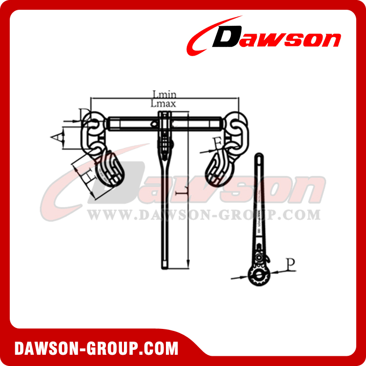DS1030 G100 RATCHET BINDER WITH SAFETY HOOKS dawson