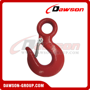 DS130 320A Grade 70 G70 Forged Alloy Steel Eye Hoist Hook with Latch, 320C G43 Grade 43 Forged Carbon Steel Eye Hoist Hook
