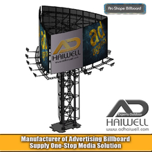 Arc Shape Round Unipole Outdoor Advertising Billboard Structure
