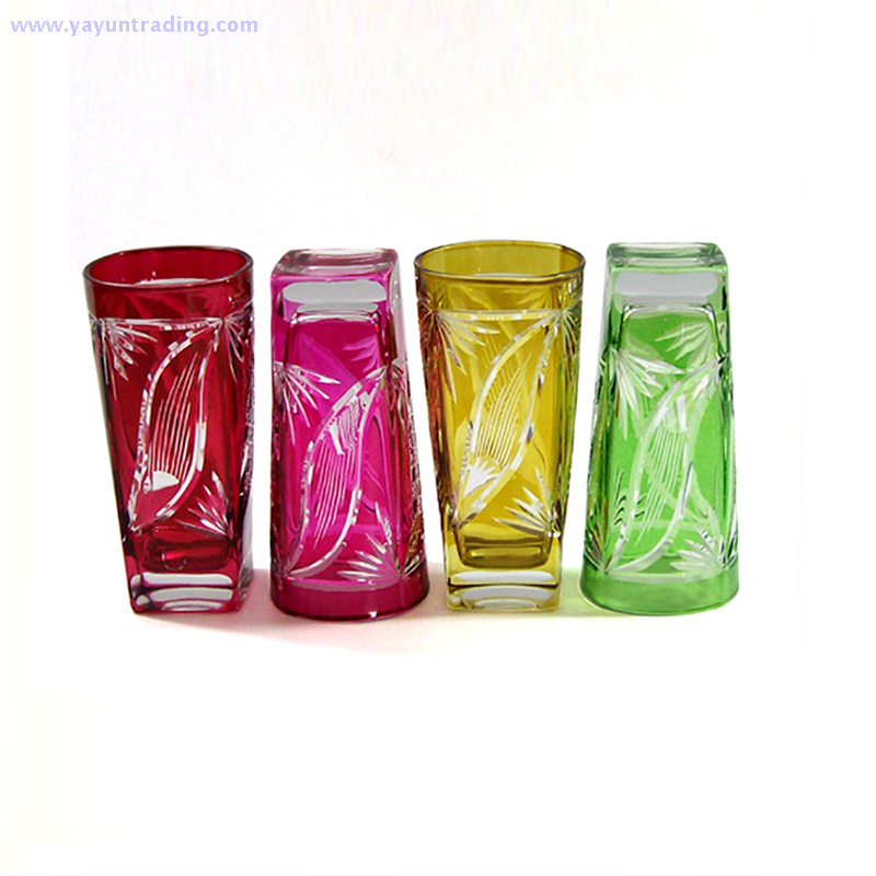high quality and hand engraved square juice glass cup