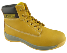 0132 yellow nubuck leather pu sole steel toe safety shoes