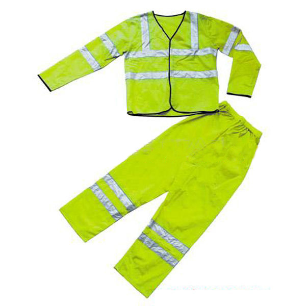 Green waterproof polyester/pvc raincoats for men with reflective tape