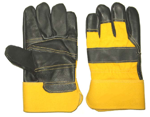 1275 black funiture leather rubber cuff working gloves