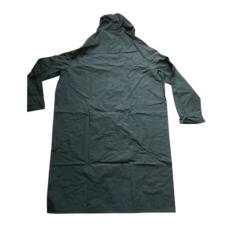 Military Green Water Proof Oil Chemical Resistant Raincoats Adult Men Long PVC Rain Coat