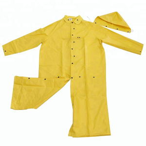 Yellow detachable hood water proof riding horse men PVC raincoats