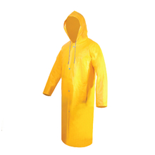 Long yellow pvc raincoat for industy