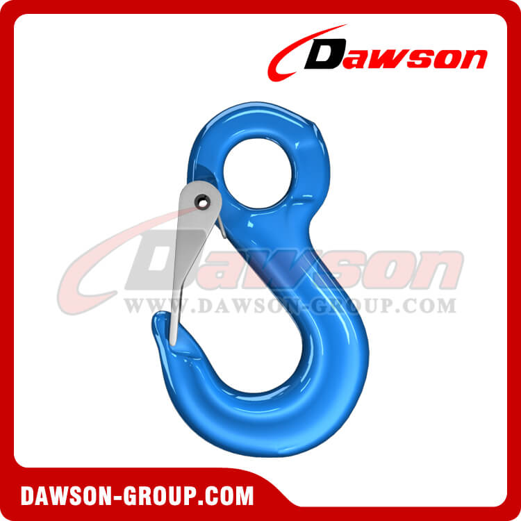 G100 Eye Sling Hook with Latch for Lifting Slings, Alloy Steel Eye Hook - China Supplier