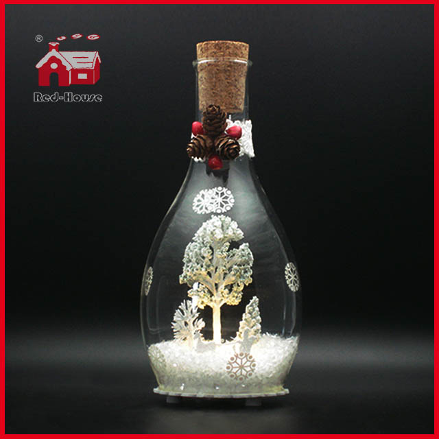 Christmas Day Glass Decoration Bottle Decoration LED Glass Bottle Decoration
