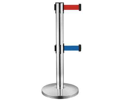 Stainless Steel Double Banner Retractable Belt Crowd Control Barrier for Library
